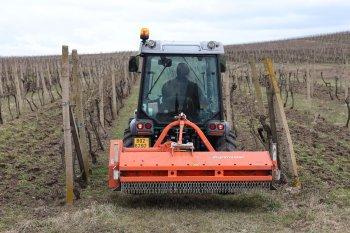 Jednou z pracovních činností soupravy ve Vinařství Šílová je mulčování zatravněného povrchu meziřadí ve vinici. Zdroj foto - Milan Jedlička